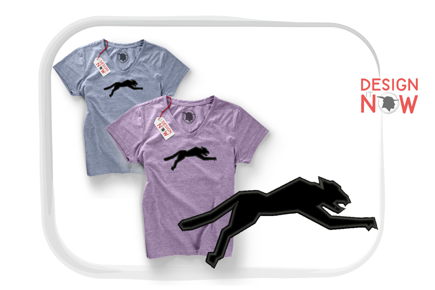 Panther Applique Embroidery Design, Puma Embroidery Pattern example image 2