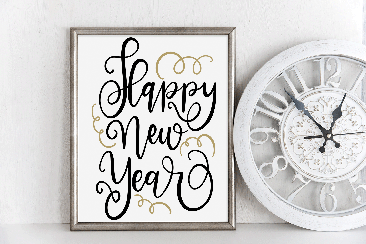 New Year SVG - Happy New Year Hand-Lettered Cut File example image 1