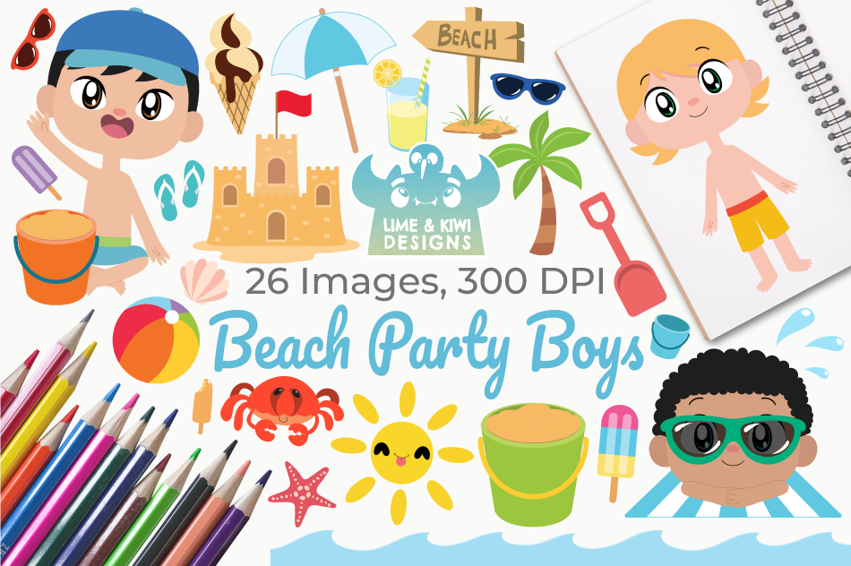 Beach Party Boys Clipart, Instant Download Vector Art example image 1