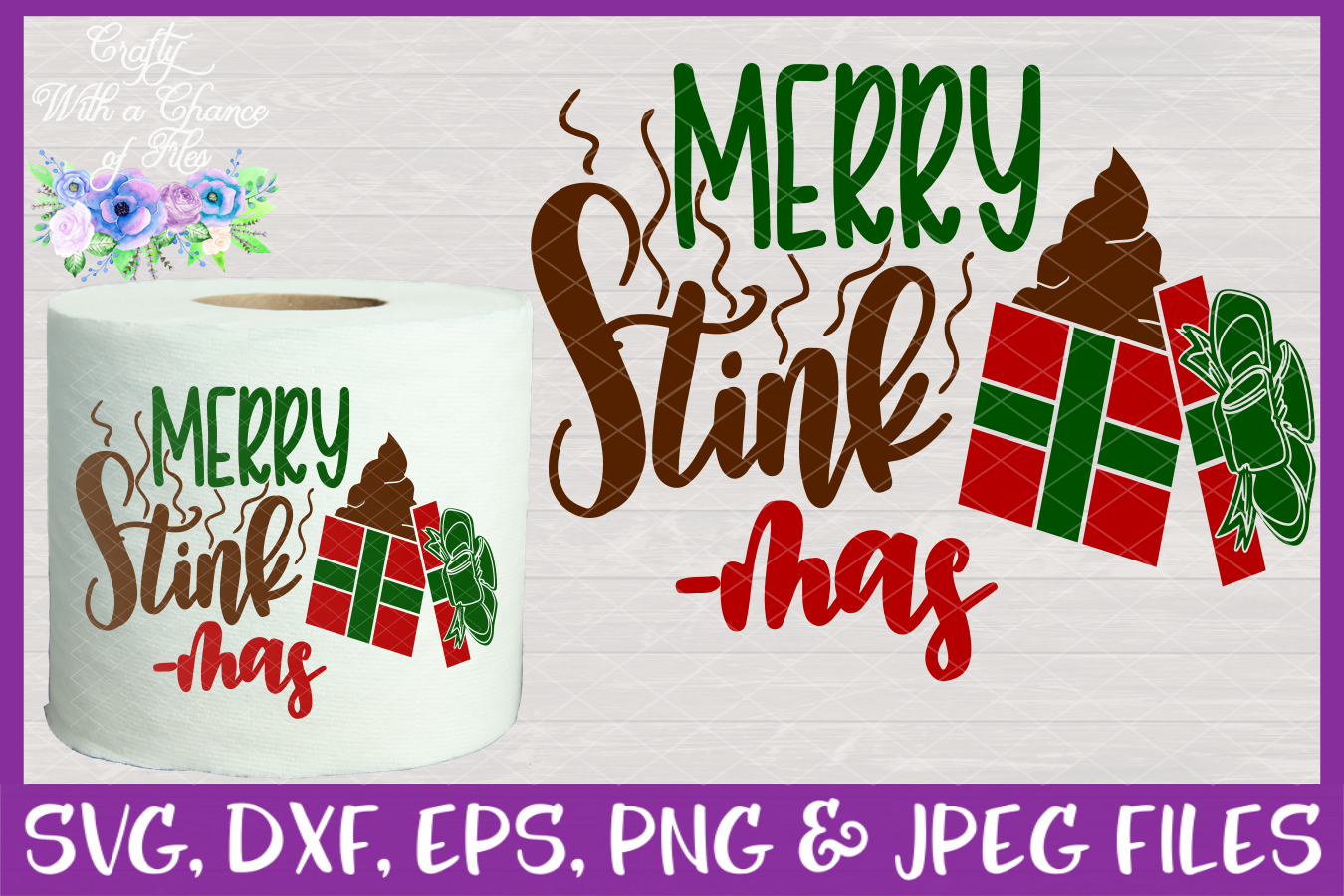Merry Stinkmas SVG - Christmas Toilet Paper Design example image 1