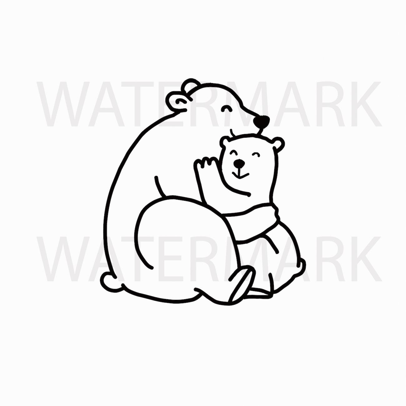 Mama Bear Cuddles Bear Cub - SVG/JPG/PNG Hand Drawing example image 1