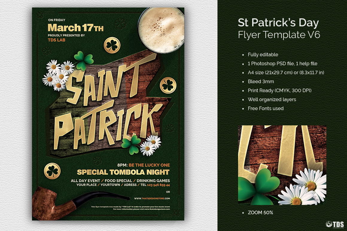 Saint Patricks Day Flyer Template V6 example image 1