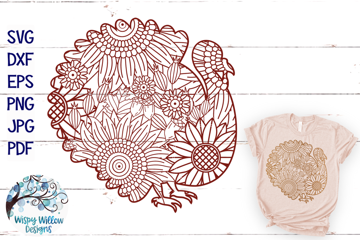 Turkey Zentangle SVG|Thanksgiving SVG | Fall SVG Cut File example image 1