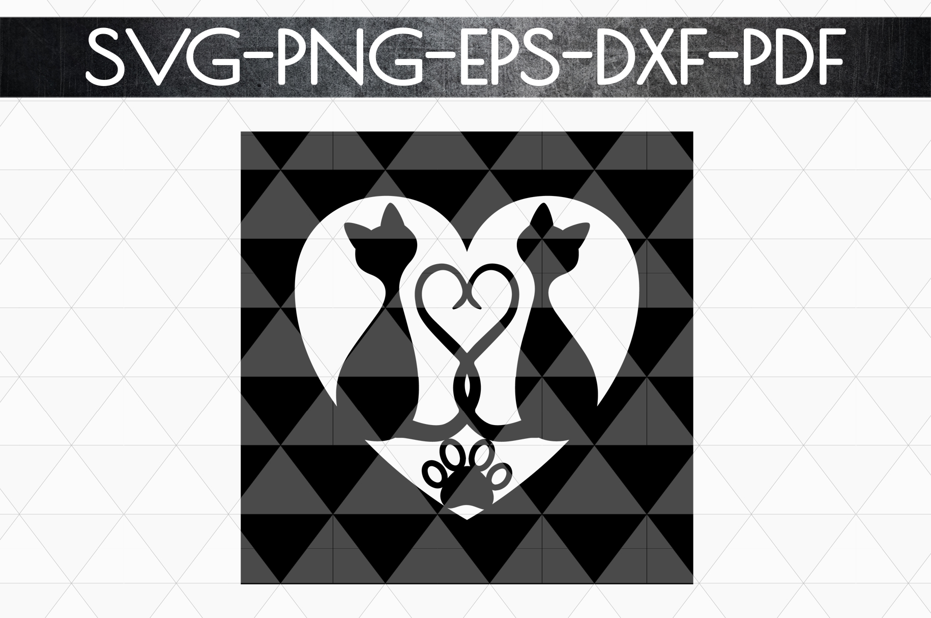 Cat In Love Papercut Template, Cat Lover Decor, SVG, DXF PDF example image 4