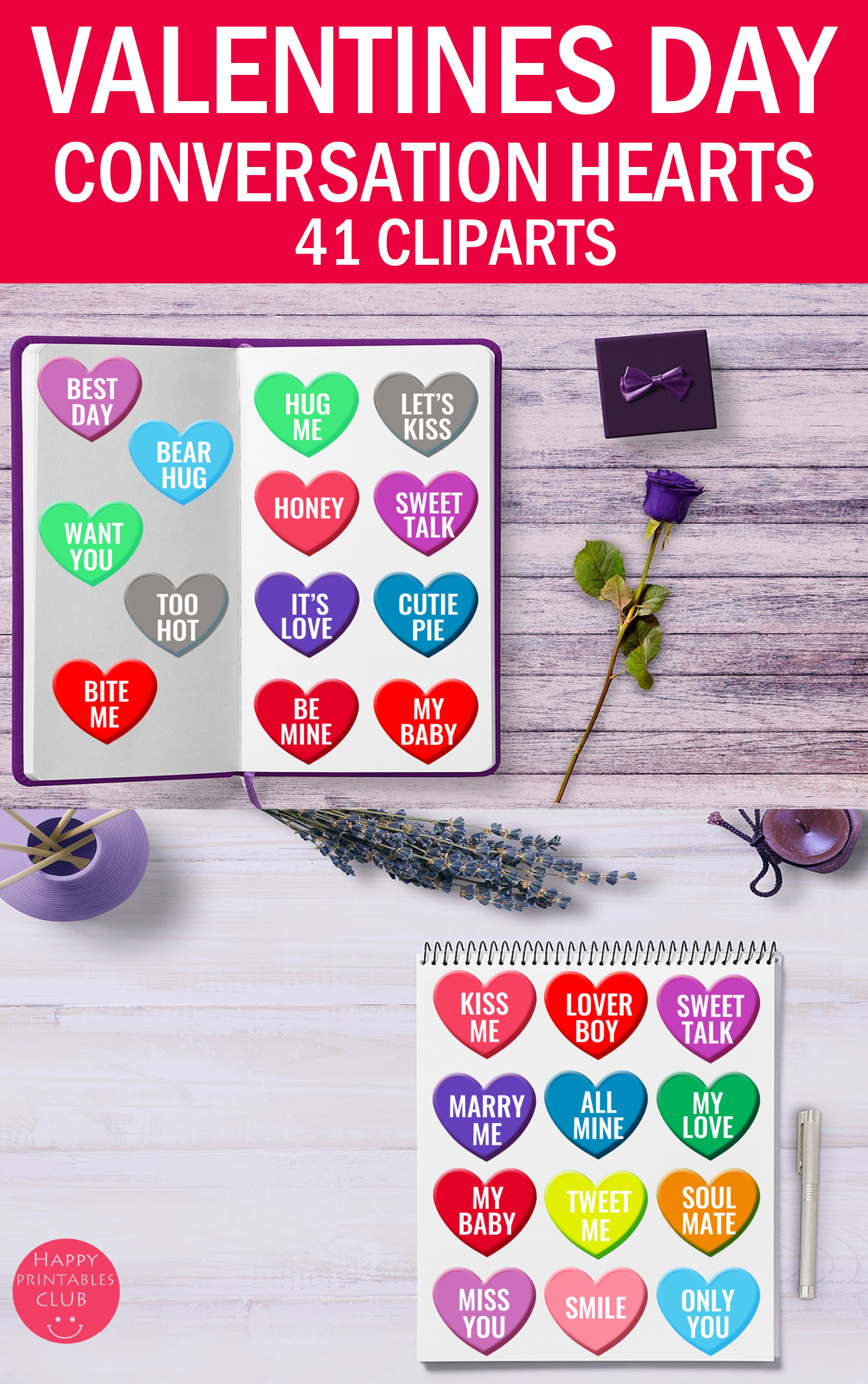Valentine's Conversation Hearts Cliparts-Love Hearts example image 4