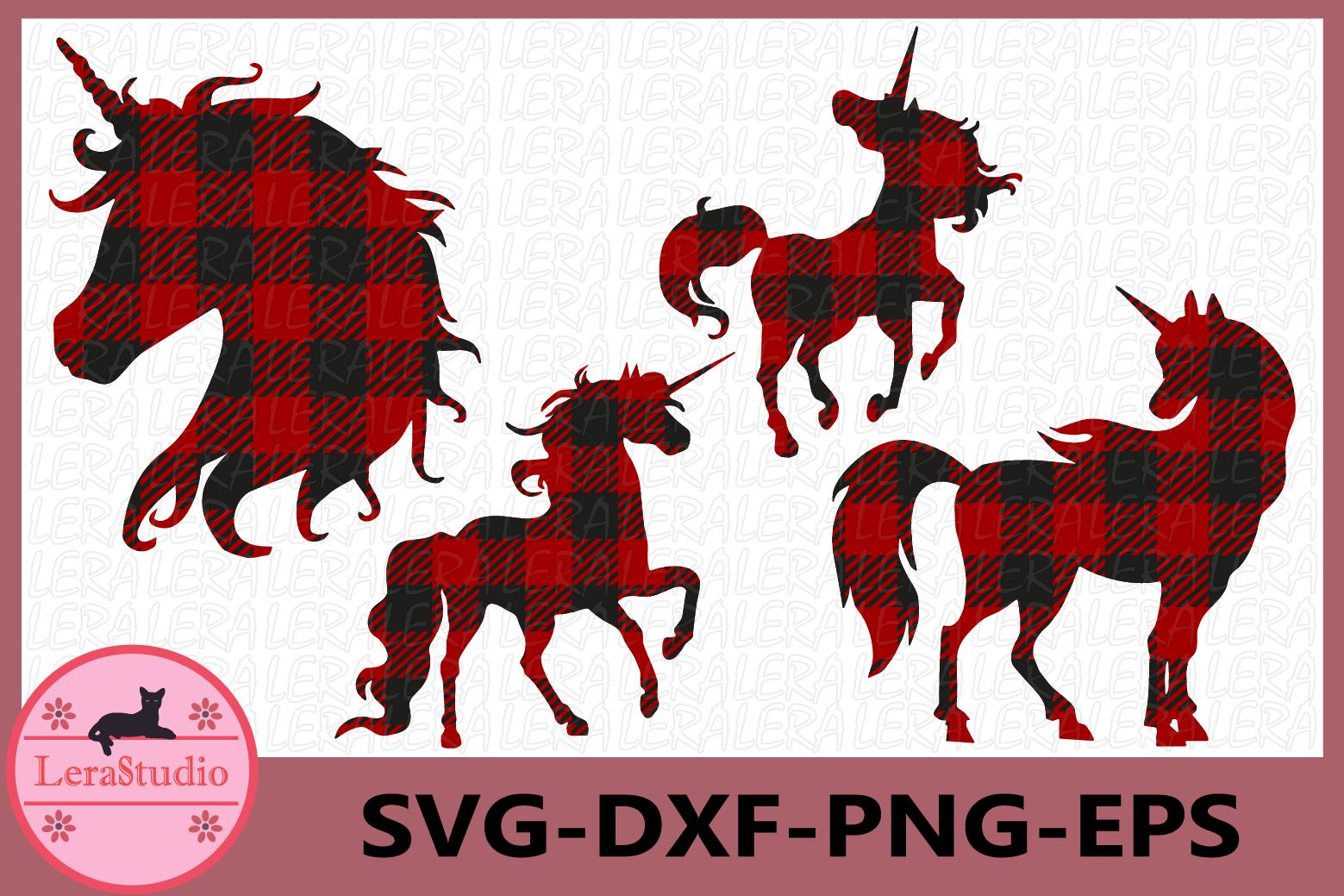 Unicorn Buffalo Plaid SVG files, Animal SVG, Girls Unicorn example image 1