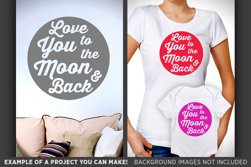 Love You To The Moon And Back SVG Sign - Valentines - 1504 example image 3