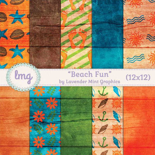 Beach Fun Digital Scrapbook Paper example image 1