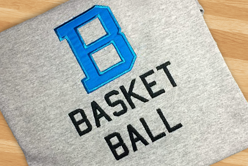 B for Basketball Applique Embroidery Design example image 1