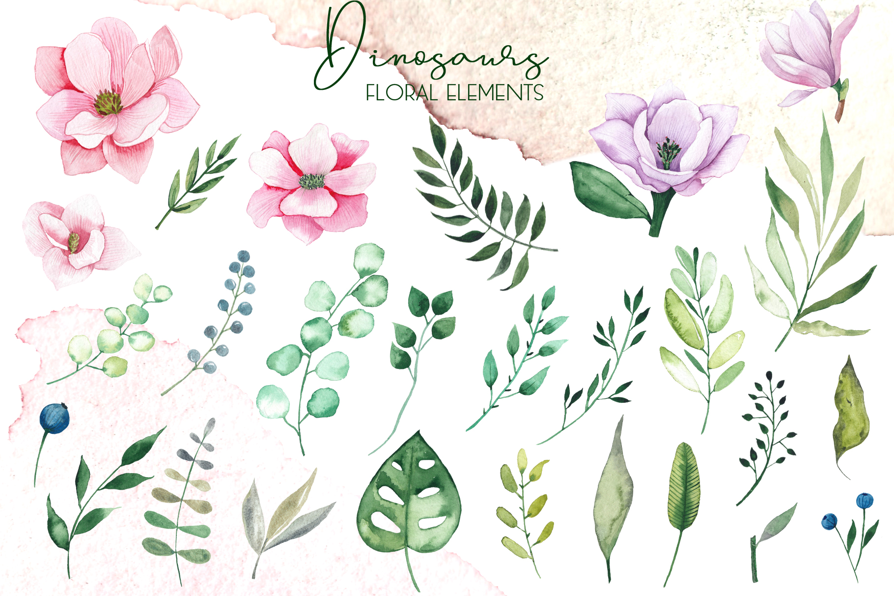 Dinosaurs. Watercolor clipart example image 17