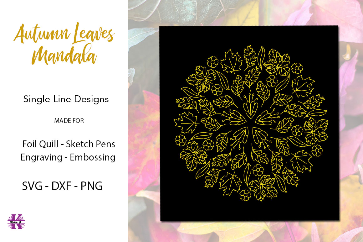 Autumn Leaves Mandala for Foil Quill|Single Line Design example image 1