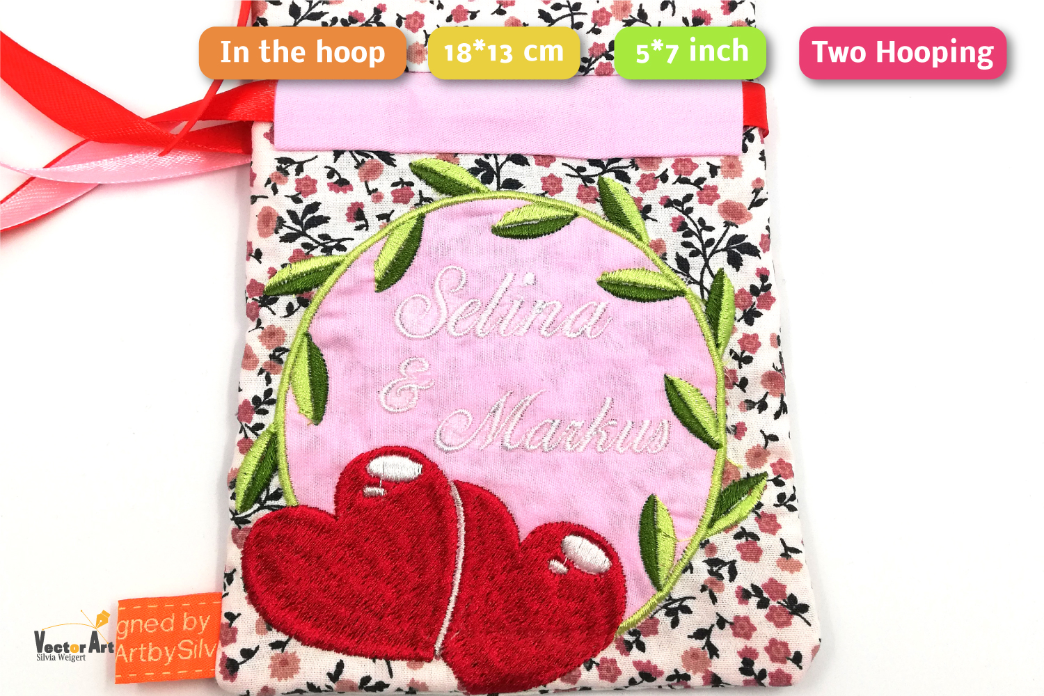 ITH -Drawstring Bag for Wedding Money Gift - Embroidery File example image 2