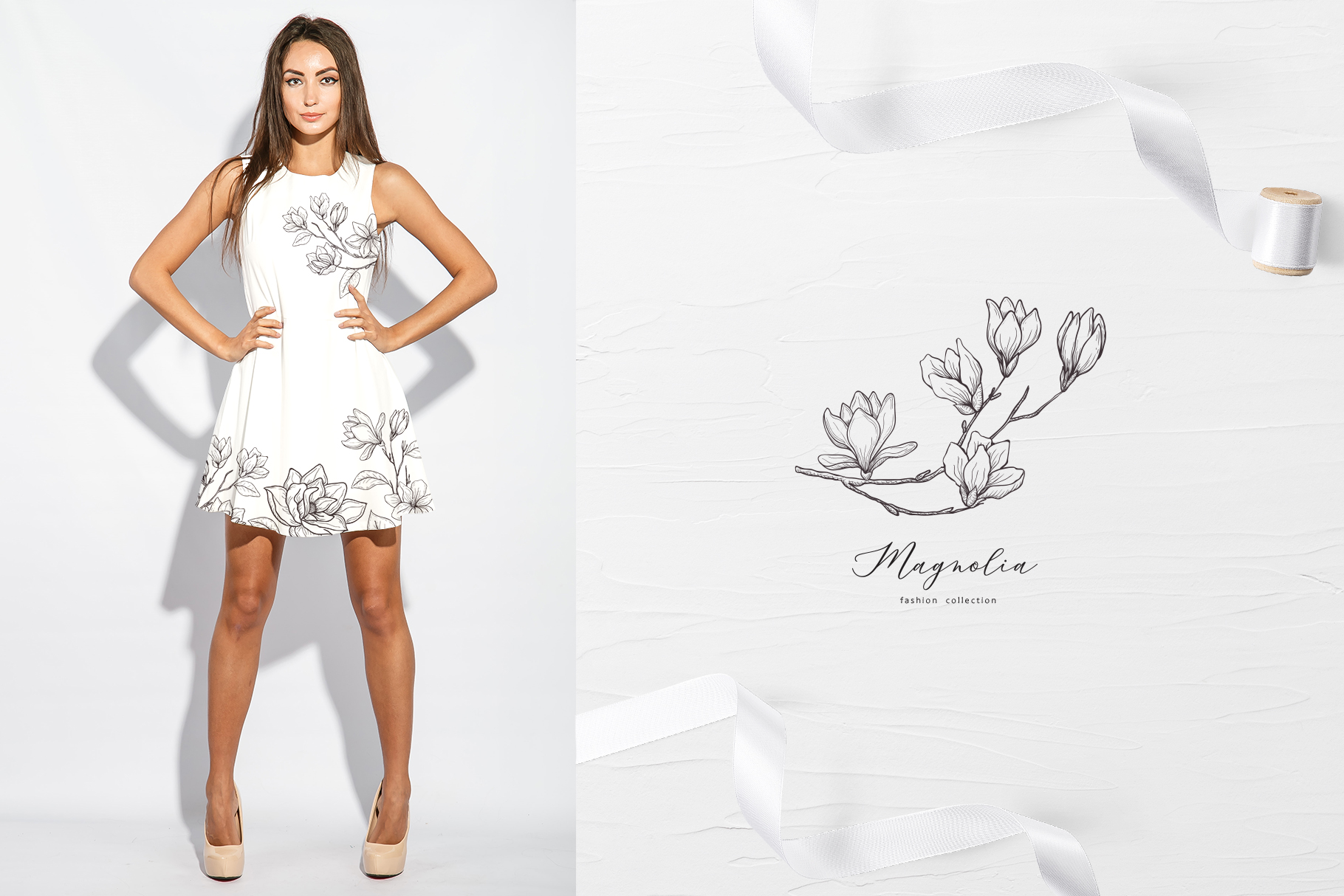 White Magnolia and Cotton. Trendy Greenery example image 13