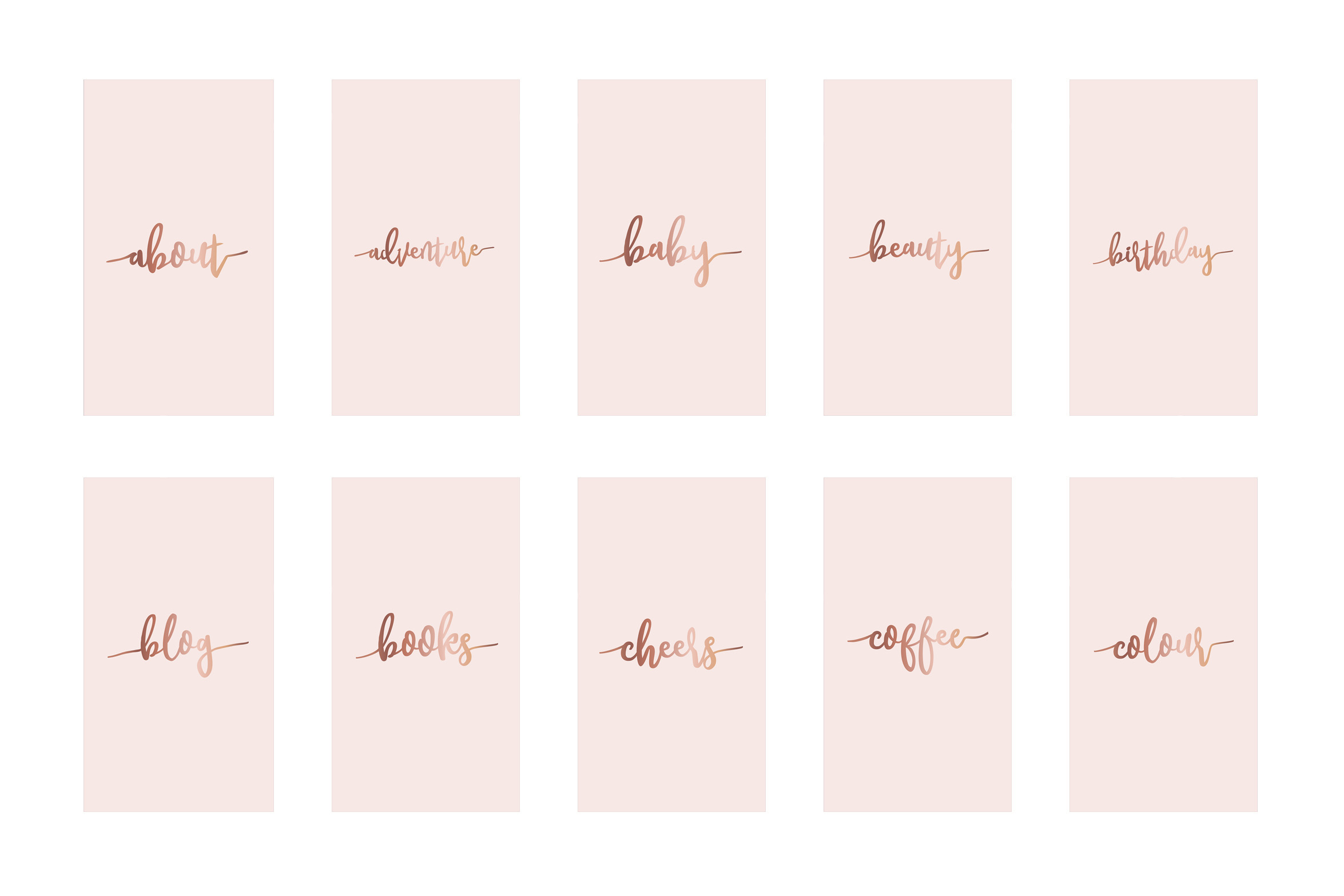 Instagram highlight covers - Rose gold script on pink example image 2