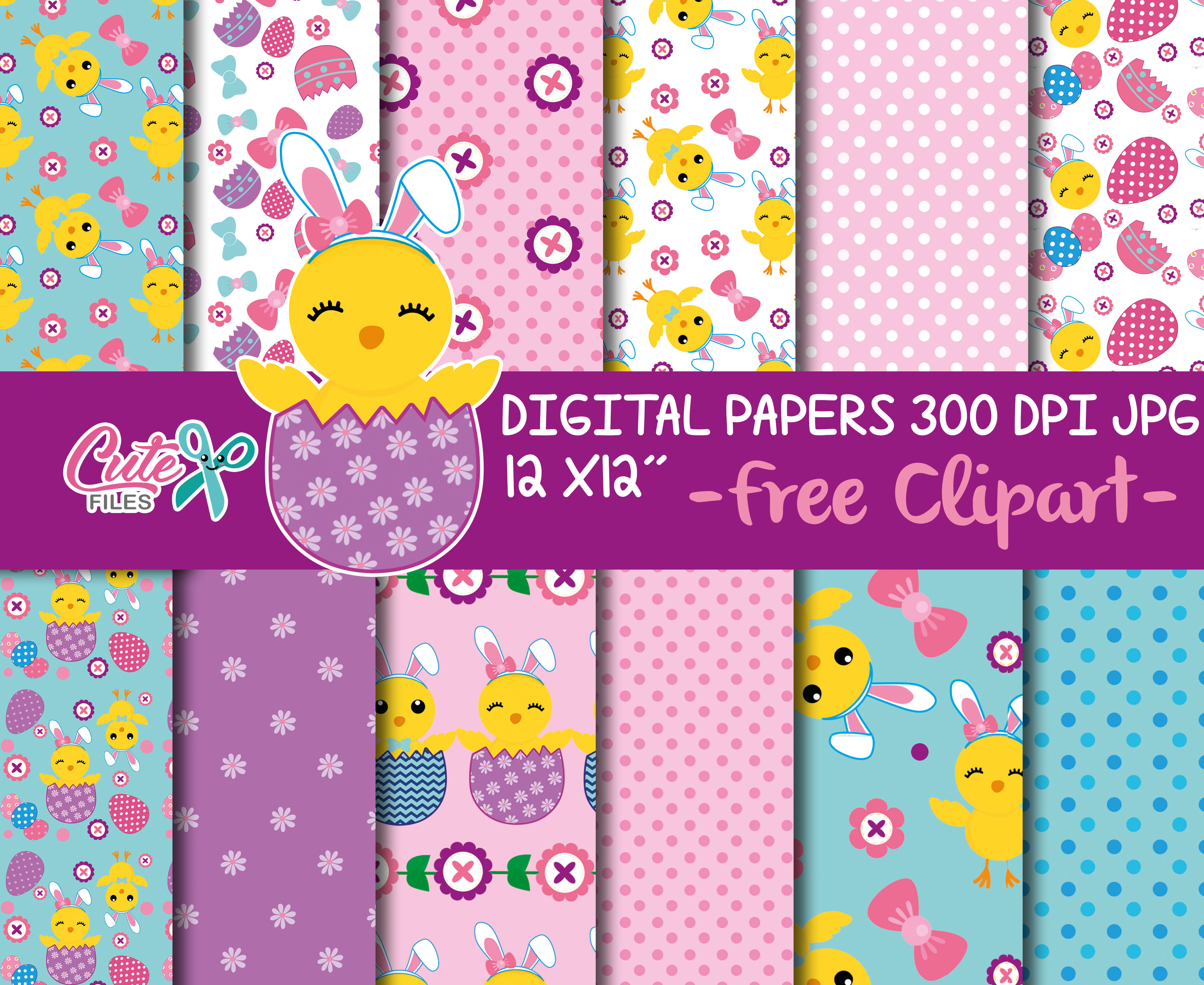 Easter digital paper for crafters example image 1