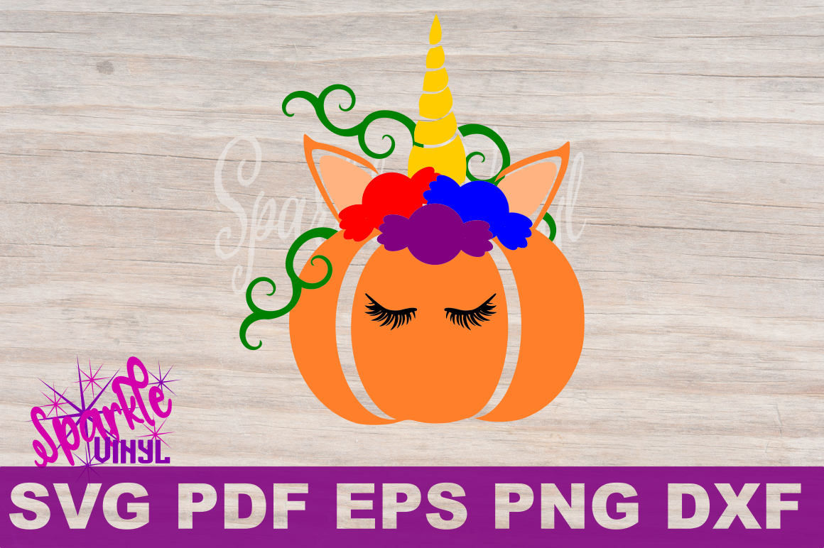 Unicorn Pumpking with Candy SVG DXF EPS PNG PDF files for cricut and silhouette example image 2