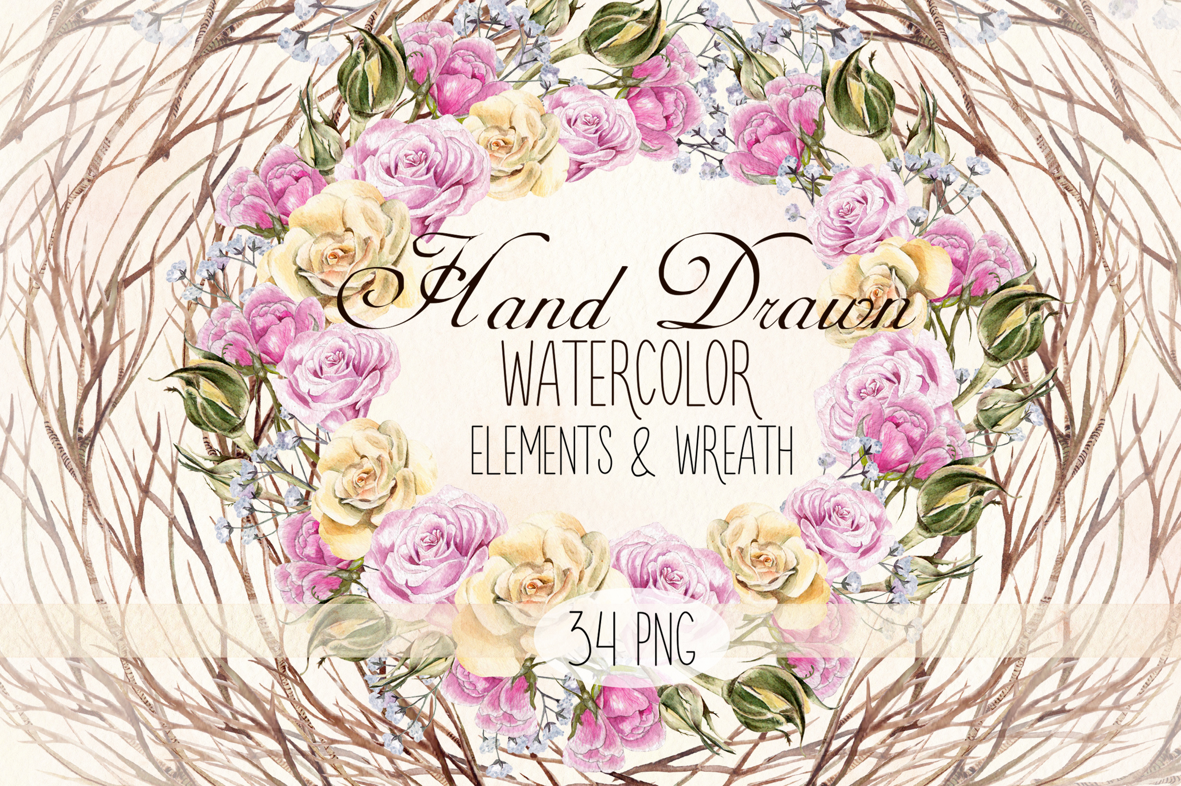 Watercolor Elements & Wreath example image 1