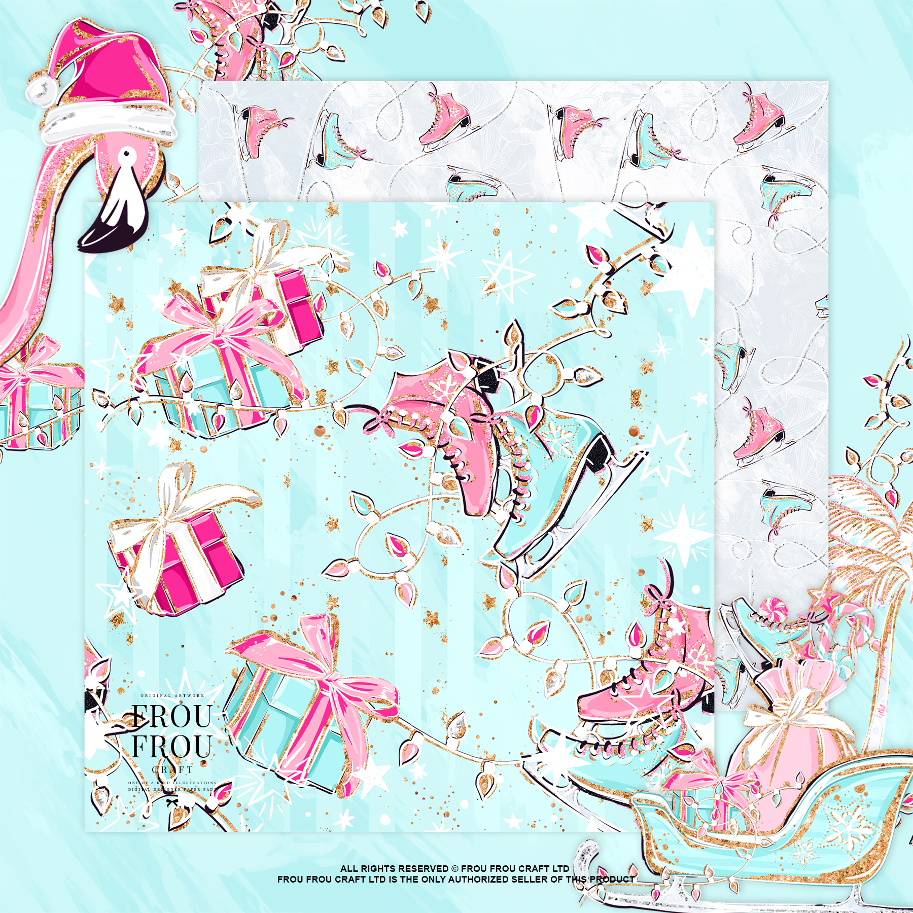 Pink Flamingo Christmas Presents Glitter Paper Pack example image 6