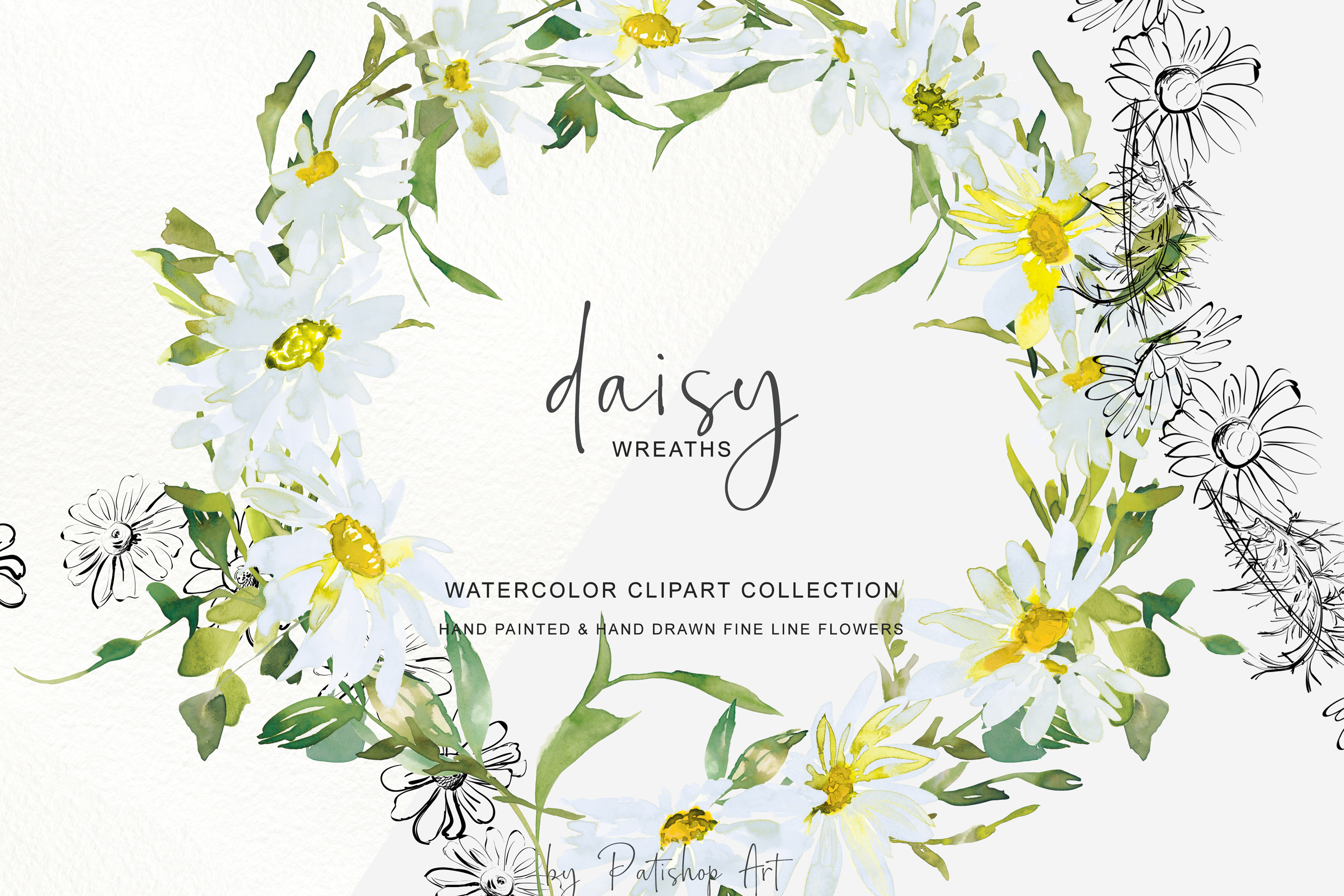 Watercolor Daisy Wreath Clip Art example image 3