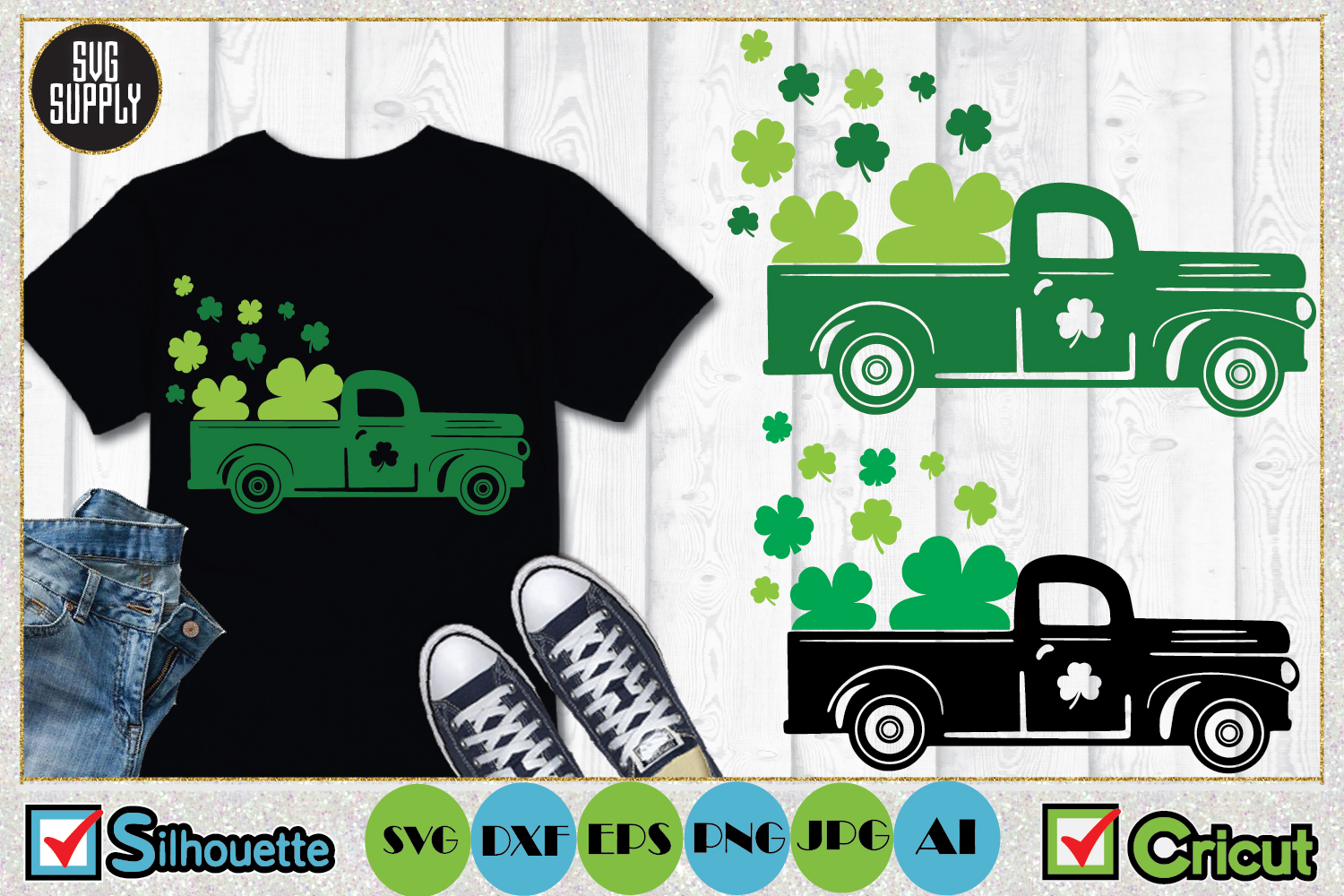 St. Patrick's Truck SVG Cut File example image 1