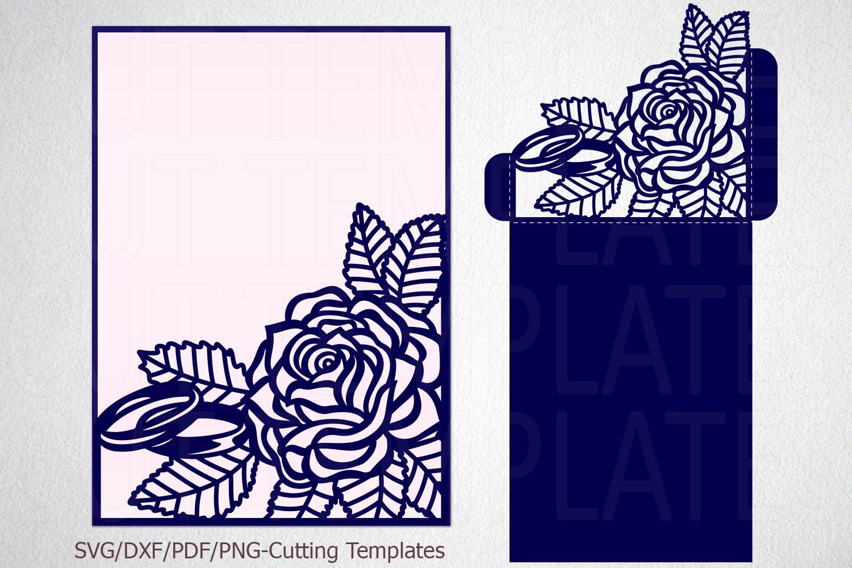 Roses wedding invitation Tri Fold Pocket Envelope set svg example image 2
