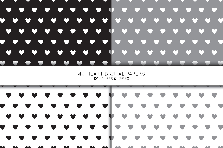 Heart Digital Paper, Heart Scrapbook paper example image 4