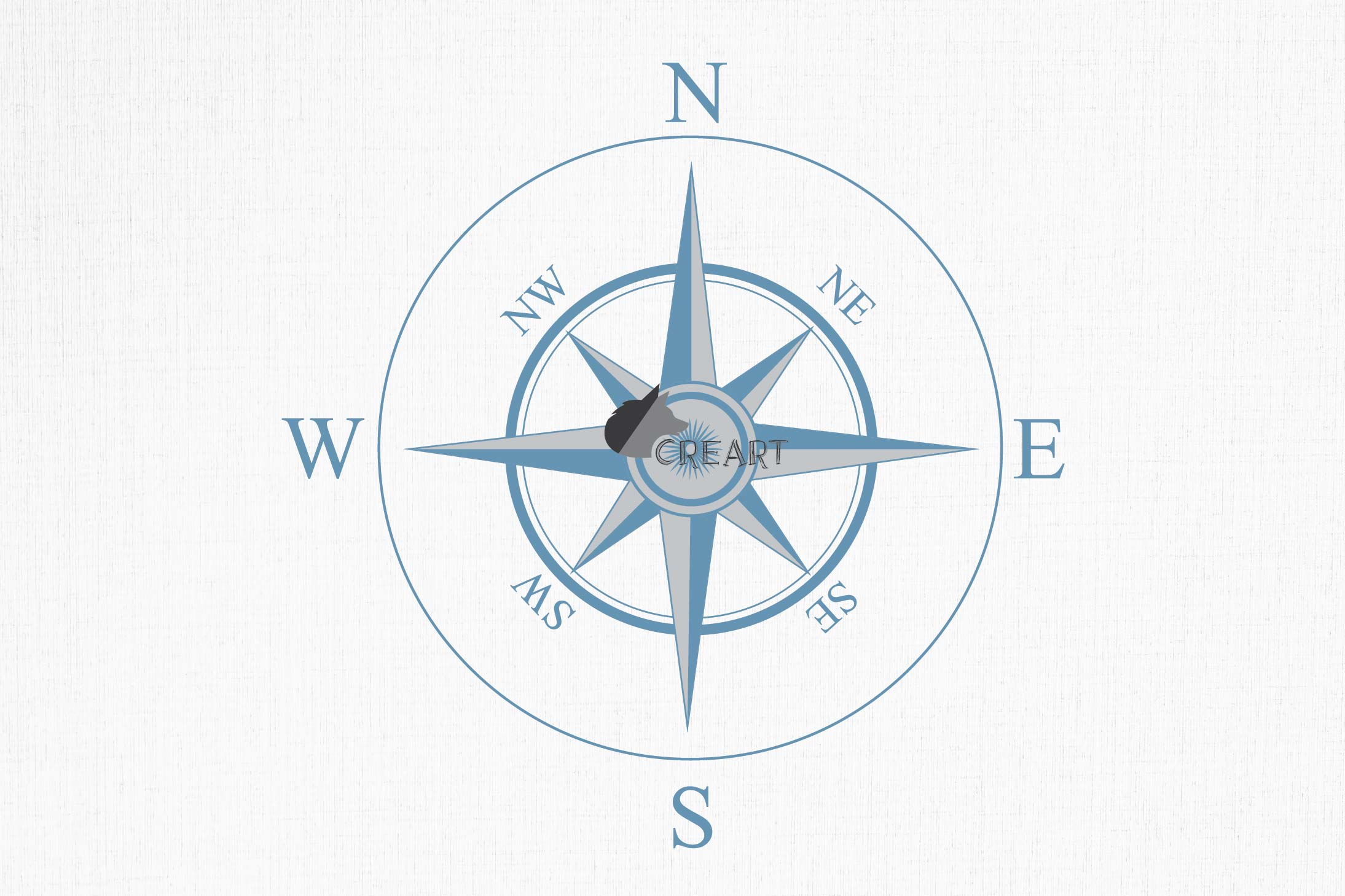 Compass rose navigation silhouette. Travellers decoration. example image 6