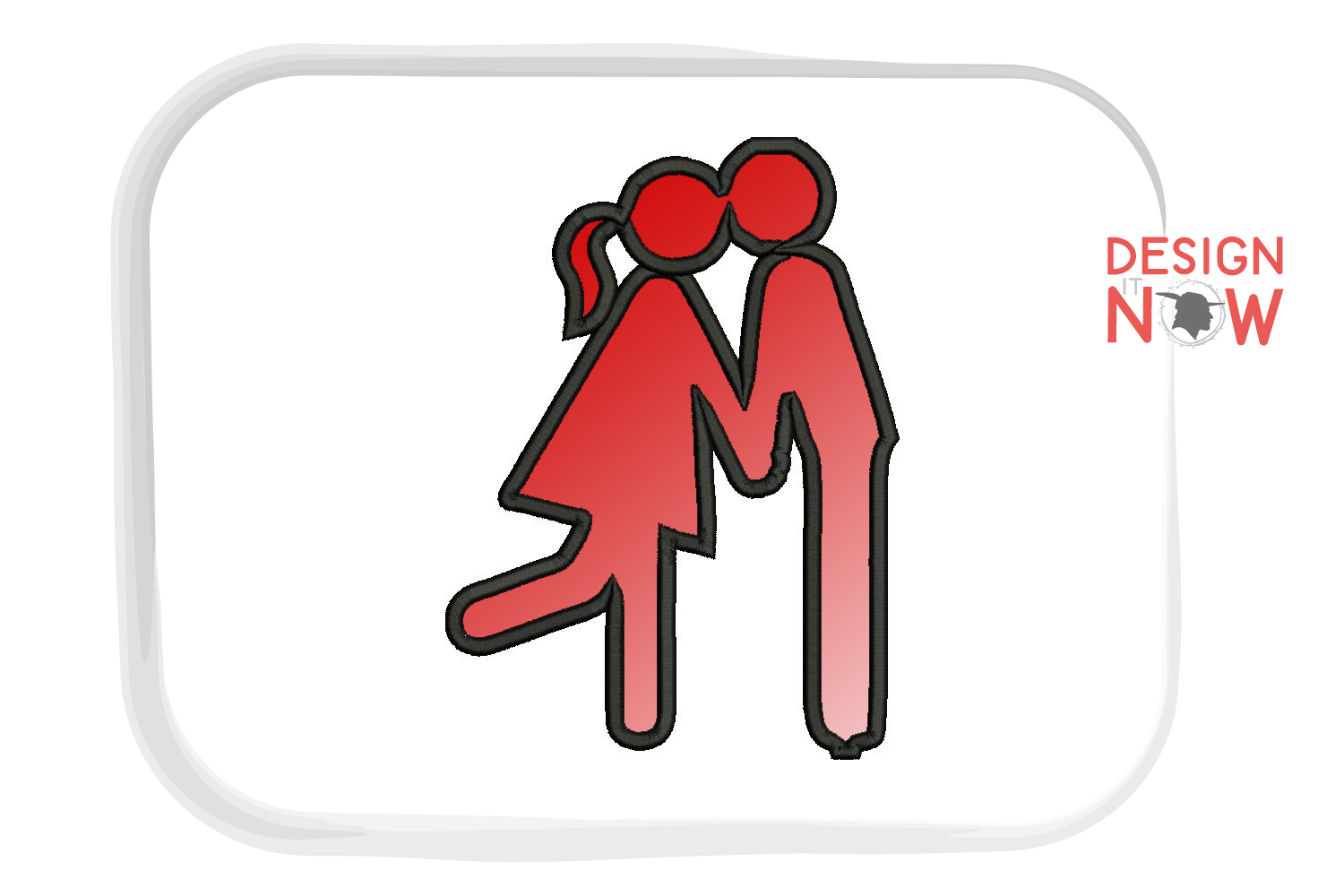 Love Applique Design, Lovers Embroidery Pattern, Valentines example image 2