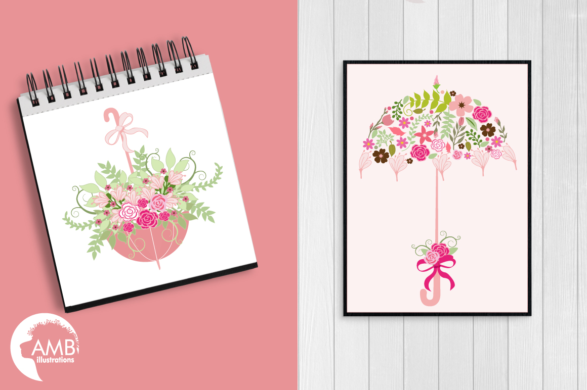 Umbrella Floral clipart, graphics, illustrations AMB-871 example image 4