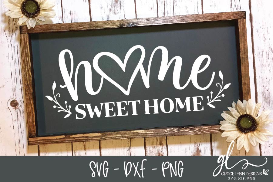 Home Sweet Home - Cut File - SVG, DXF & PNG example image 1
