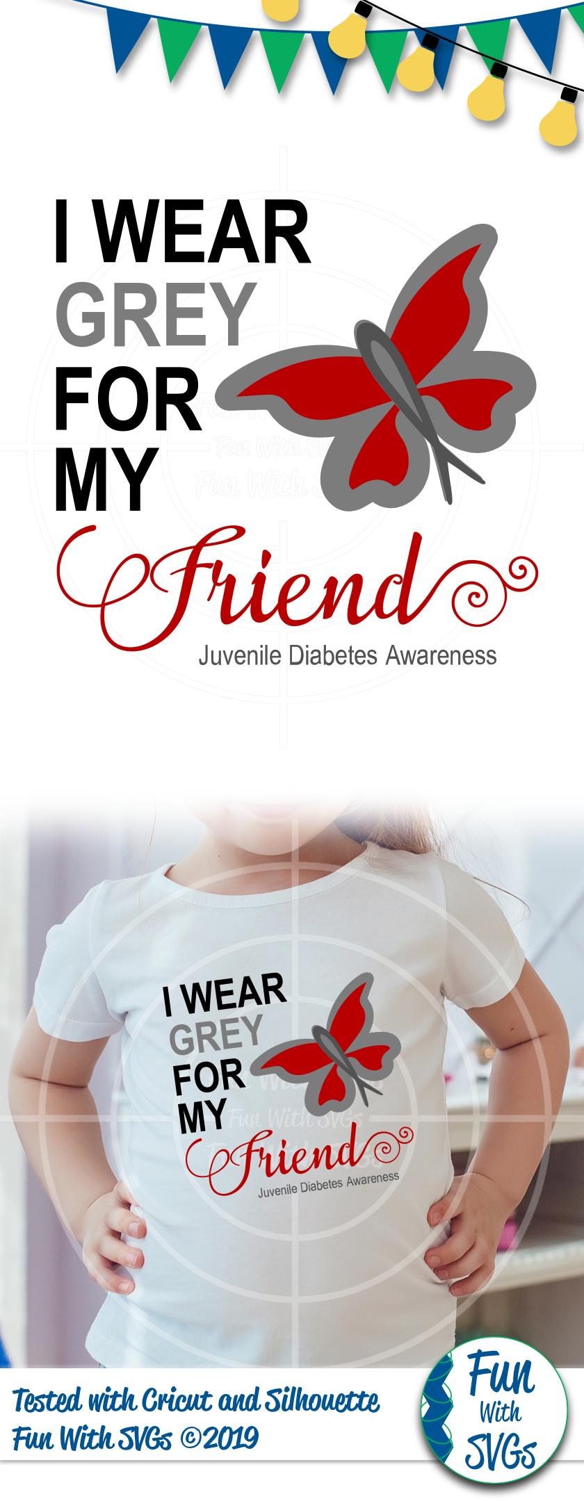 SVG I Wear Grey Juvenile Diabetes, Cut File, FWS474 example image 2