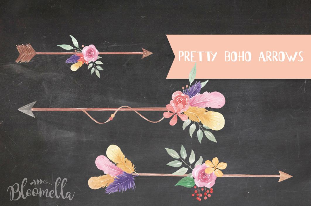 Boho Arrows Watercolor Floral Pink Flowers Blooming Leaves example image 5