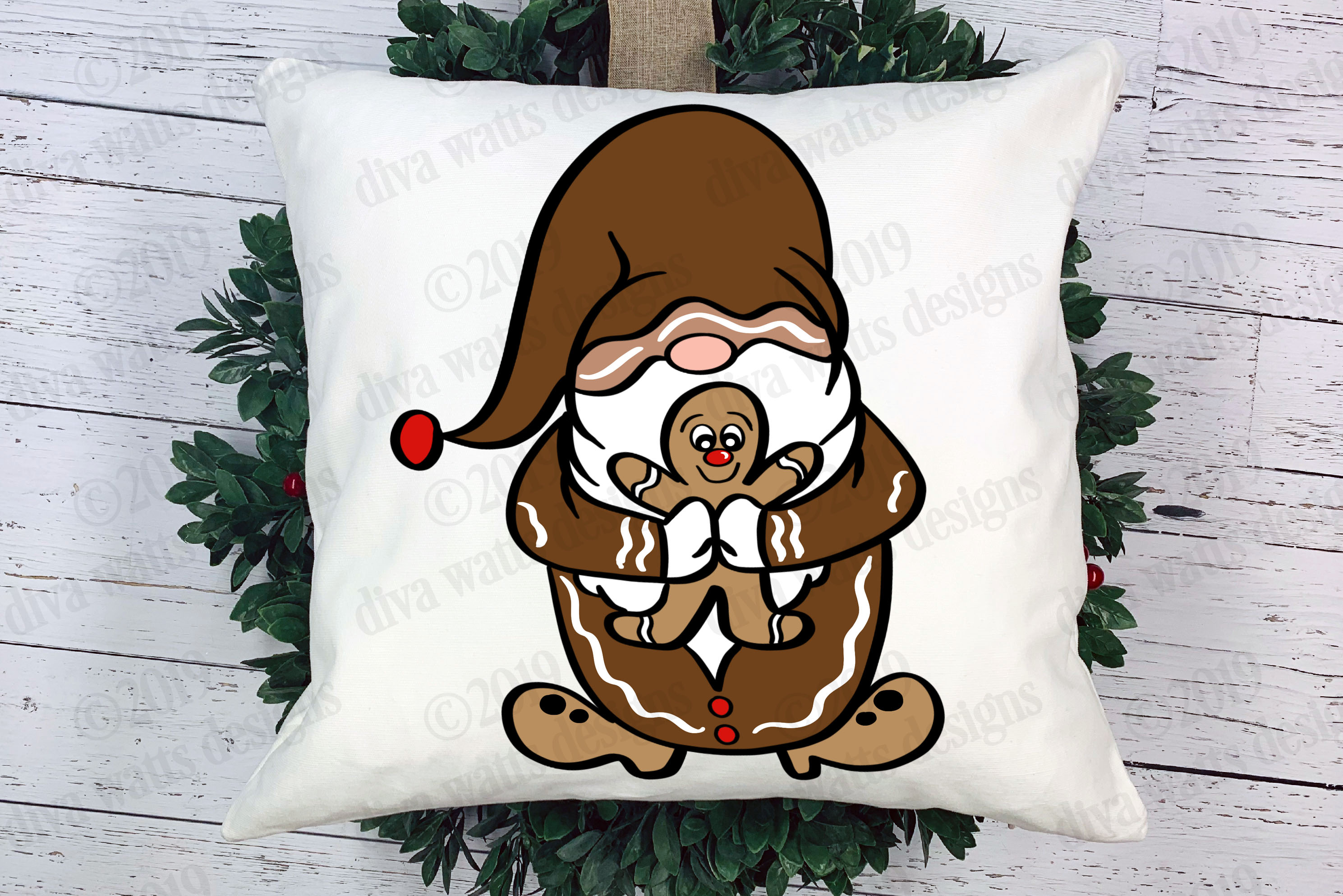 Gingerbread Man Christmas Gnome Cutting File example image 1