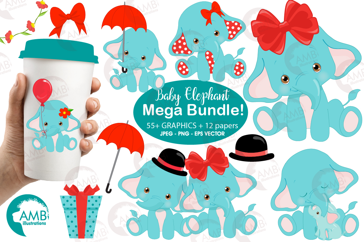 BABY ELEPHANT BUNDLE! 53 cliparts, graphics and illustrations and Patterns AMB-2273 example image 3