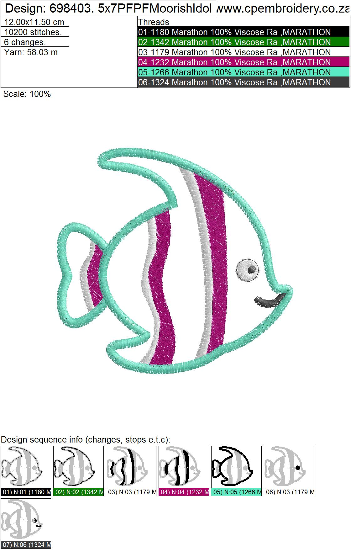 Striped Moorish Idol Pet Fish Applique Design example image 7