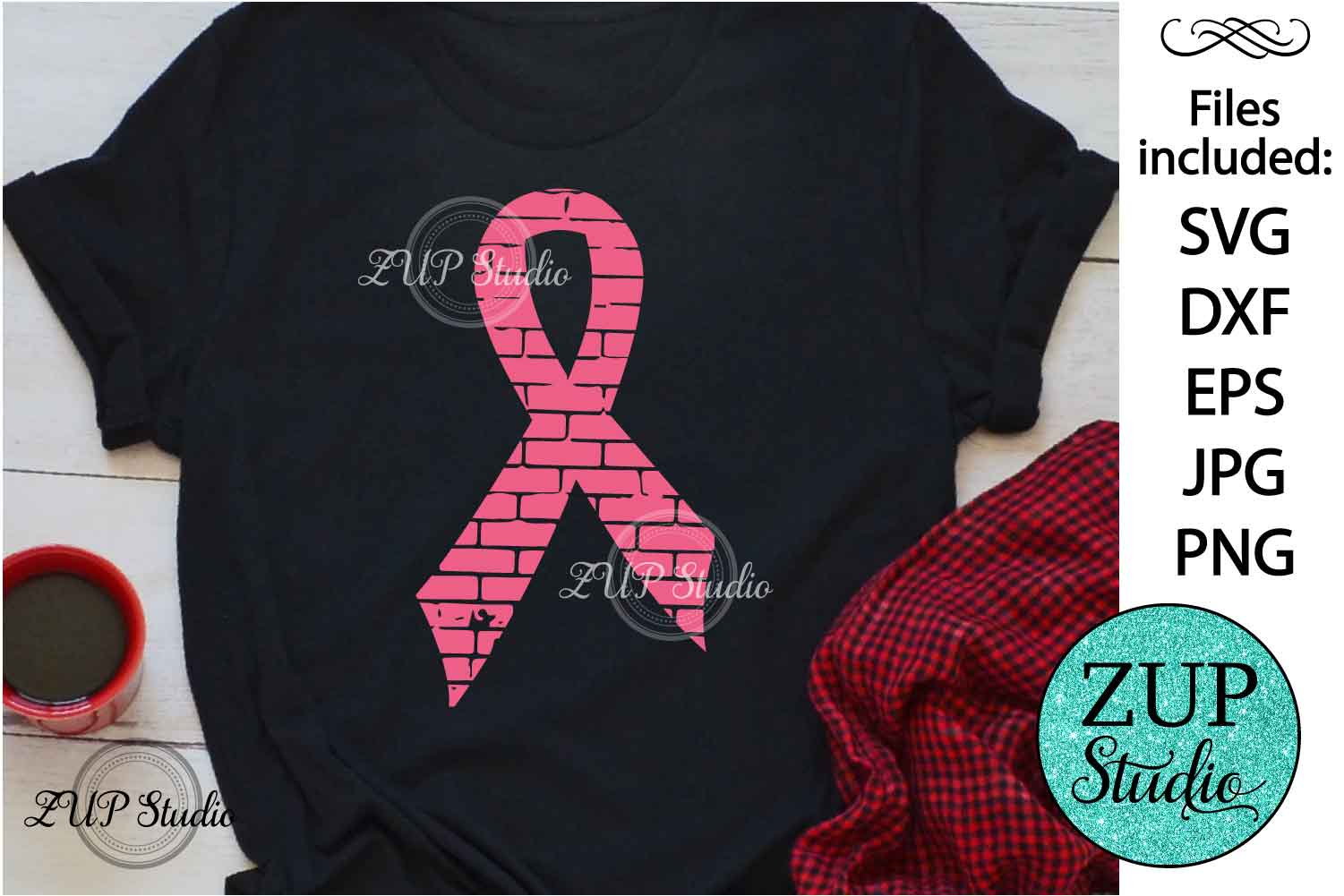 Breast Cancer Ribbon Digital Cutting files file 155 example image 1
