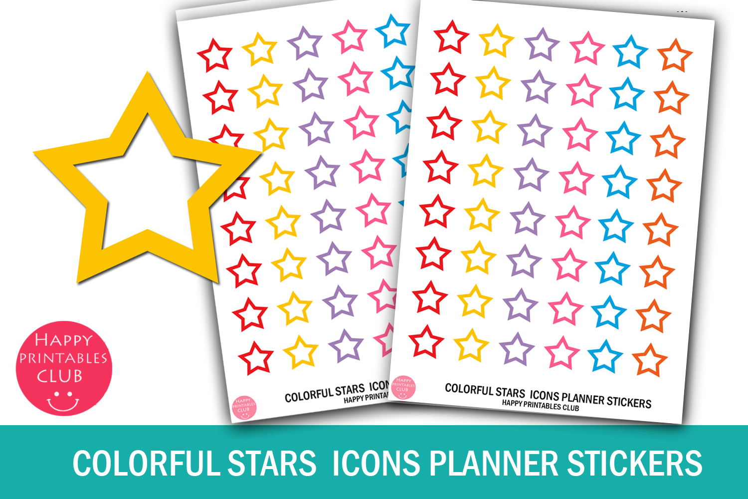 Colorful Stars Icons Planner Stickers- Stars Planner Sticker example image 1