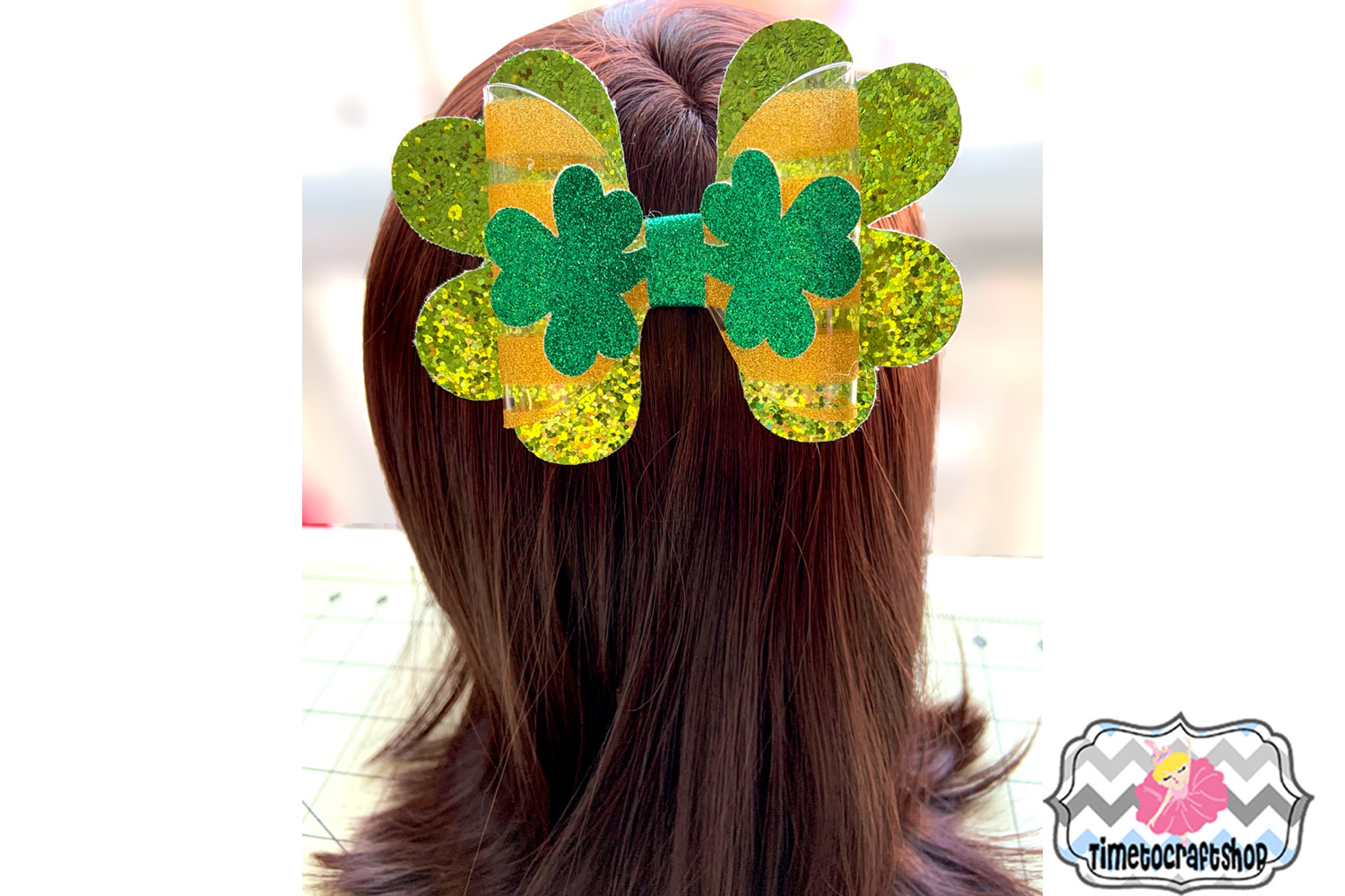 St Patrick's Day Shamrock Clover Hair bow Template example image 2