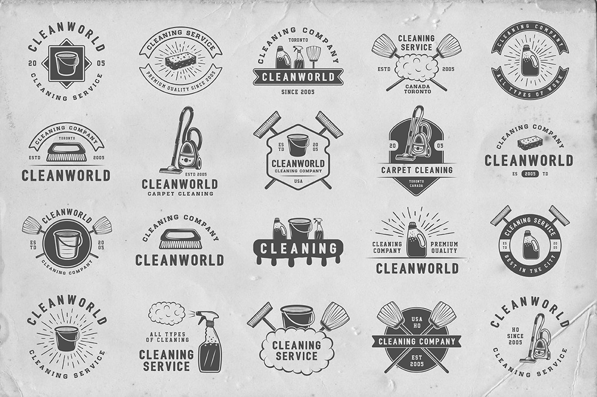 Set of Vintage Cleaning Emblems example image 2