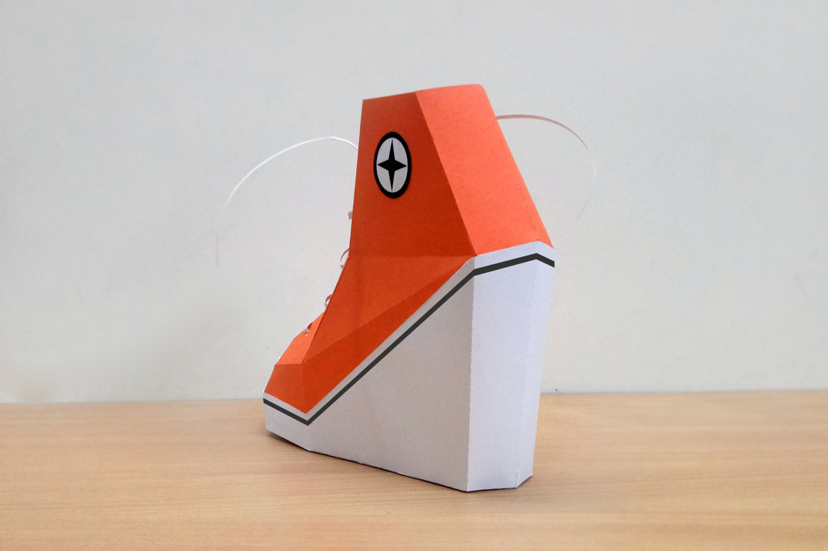 DIY Converse Shoe - 3d papercraft, lowpoly shoes, kids craft