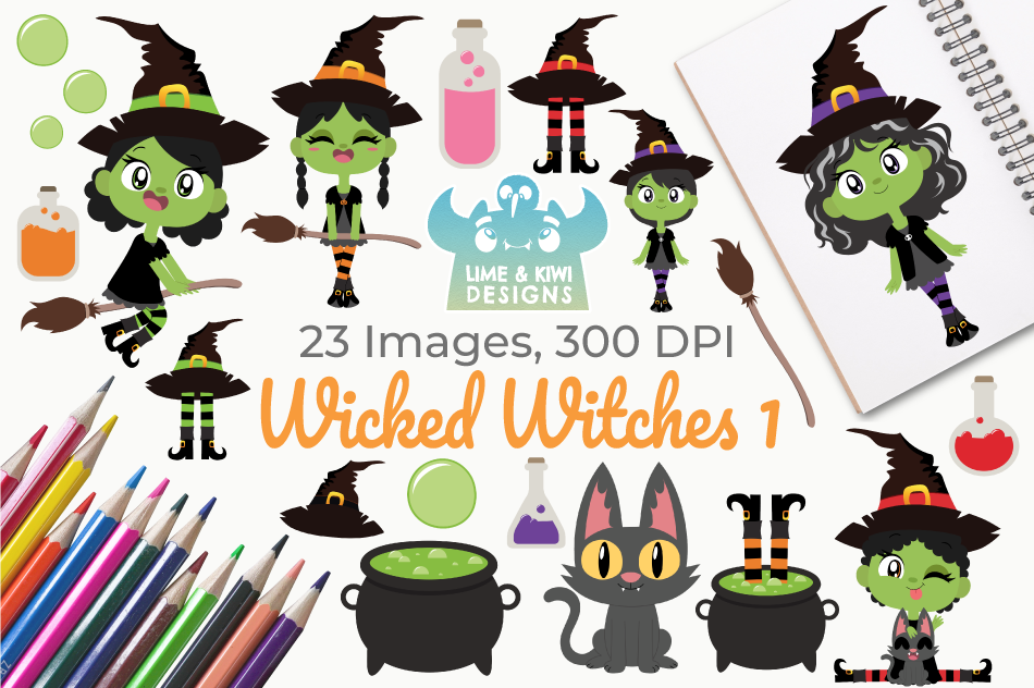 Wicked Witches 1 Clipart, Instant Download Vector Art example image 1