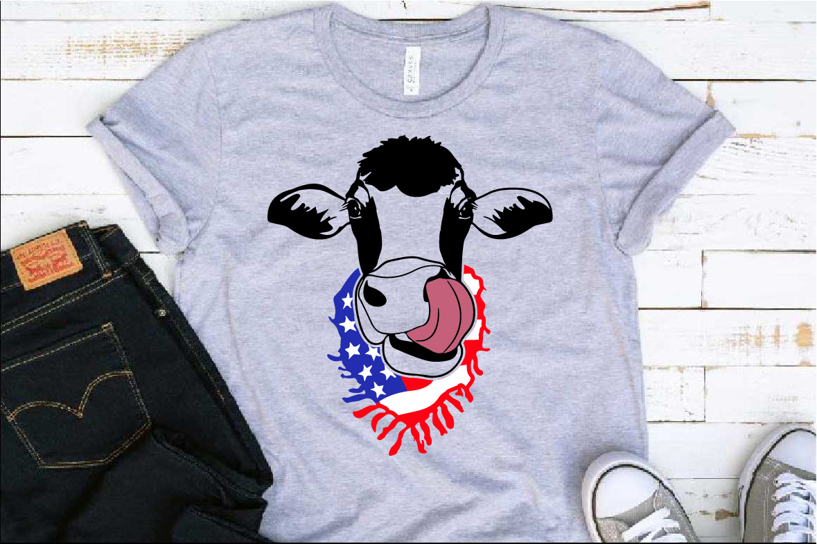 Cow Head whit Scarf US flag SVG Not today heifer 1302s example image 1