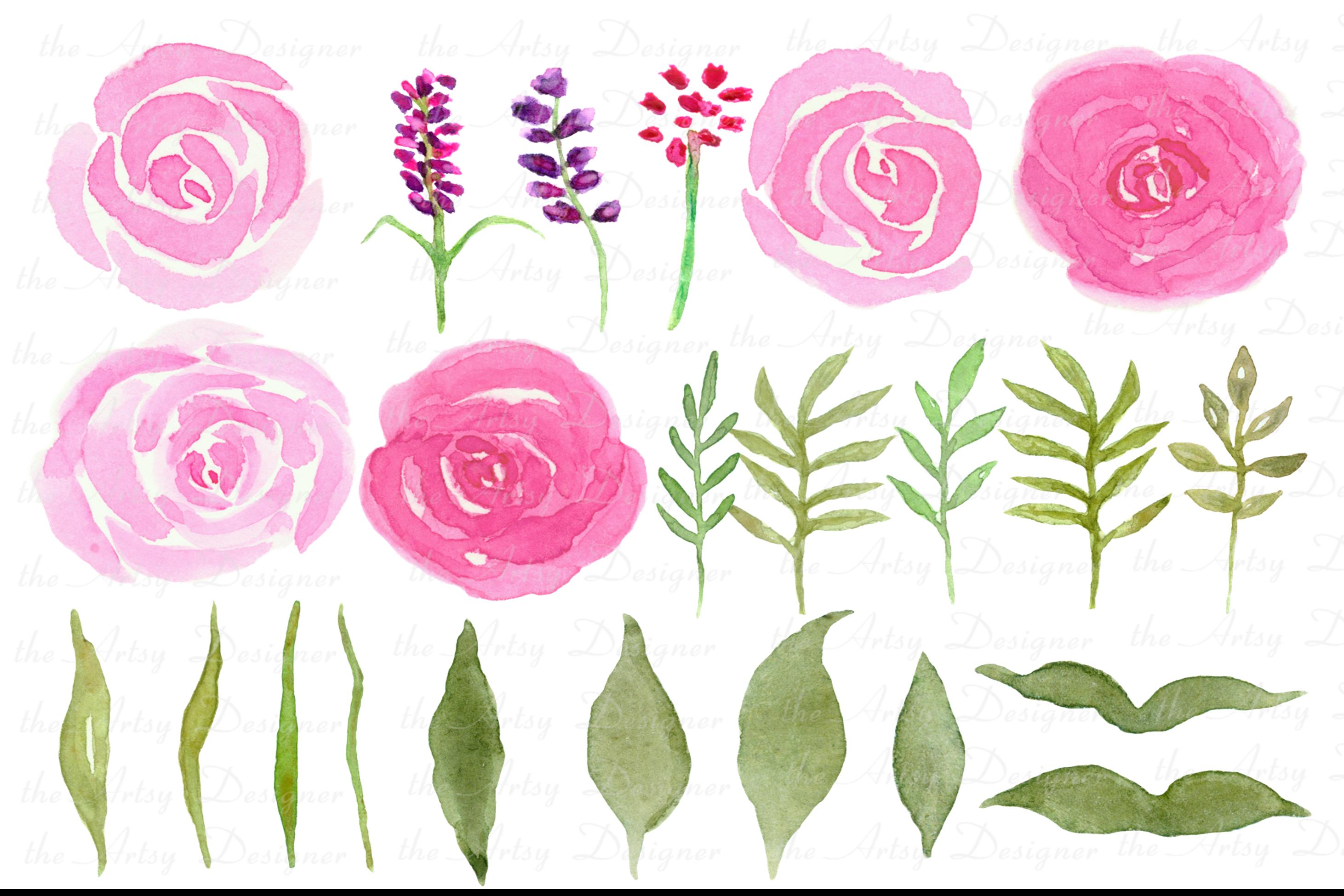 Watercolor Flowers Bundle Hand Painted Pink Purple Florals example image 2