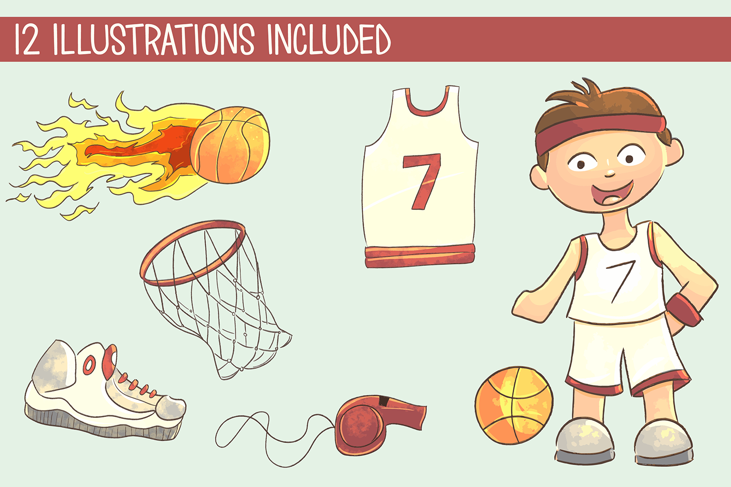Cute Basketball Illustrations example image 2