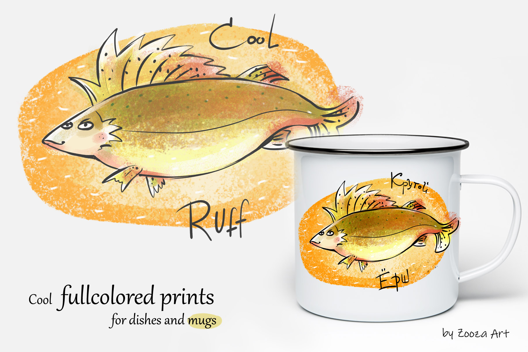 Happy River Fish - 9 illustrations example image 6