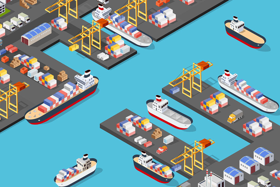 Isometric port cargo ship example image 2