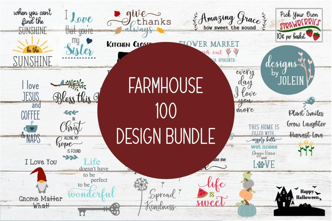 Farmhouse 100 Design Bundle SVG, png, eps, sublimation example image 1