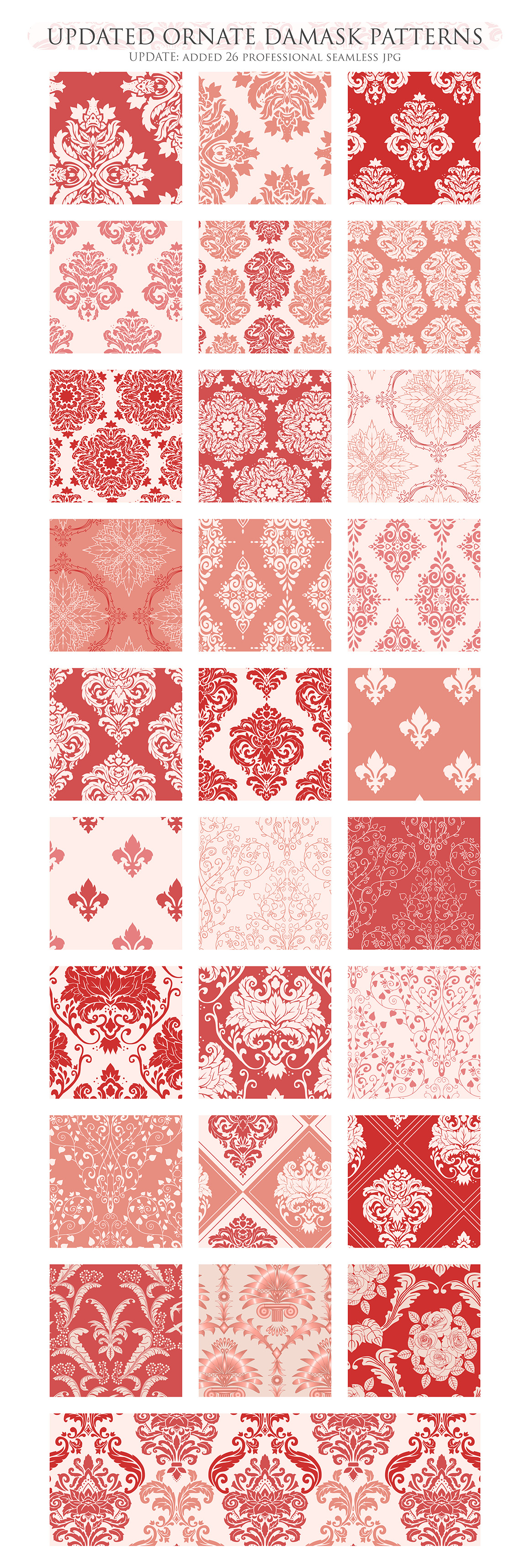 28 Red Damask Patterns - Seamless Digital Papers Bundle example image 3
