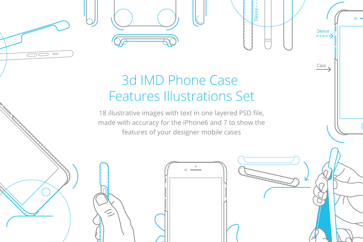 3d IMD Phone Case Features Illustrations Set example image 1