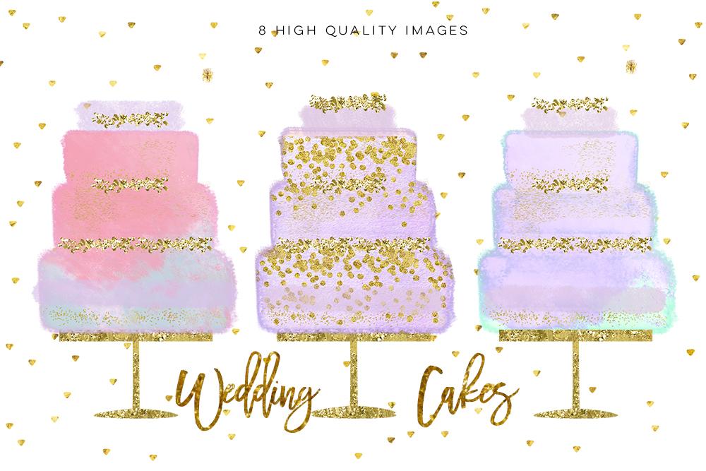 Wedding Clip Art, Hand Drawn bakery wedding cake clip art, Couture Cake, Hand Drawn Cake, Wedding cake party, pastel cake, wedding DIY example image 2